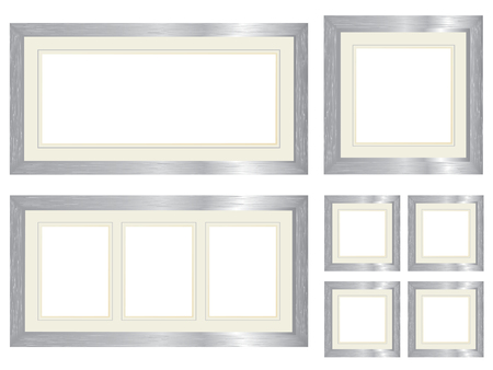 Set of silver picture frames Vector