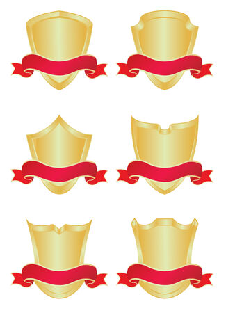 Set of six gold shields with banners Vector