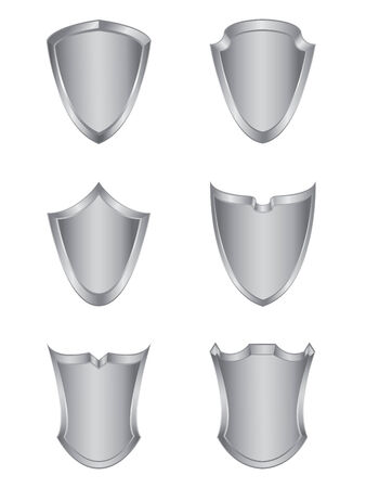 Set of six silver shields Vector