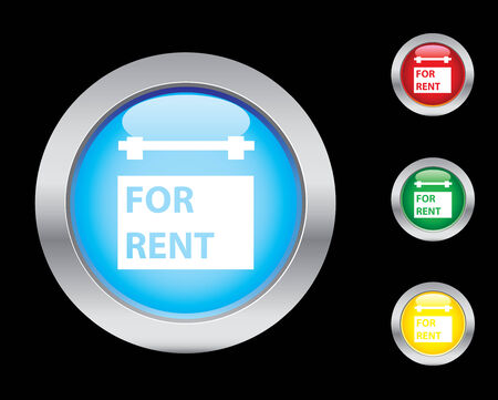 For rent glossy button set Stock Vector - 3673382