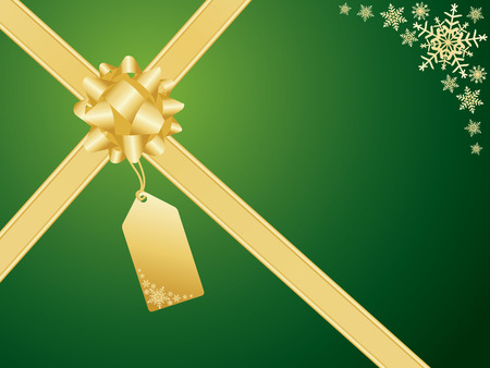 green and gold: Christmas bow and gift card.
