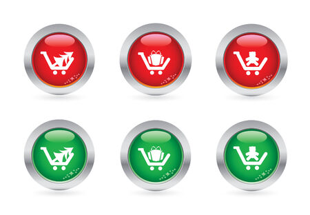 Glossy christmas shopping buttons Vector