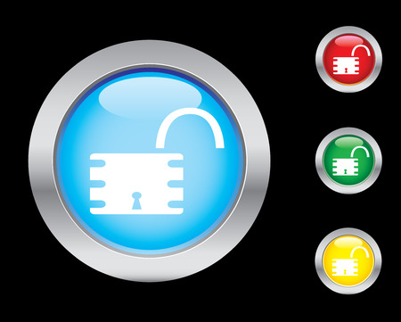 Open padlock button set Vector