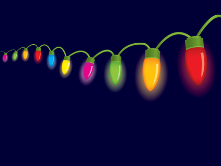 lighting bulb: Festive christmas lights Illustration