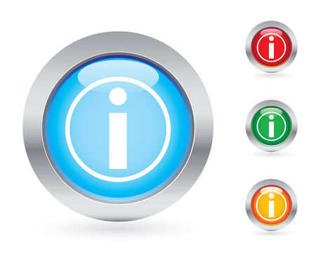 Glossy information button set Vector