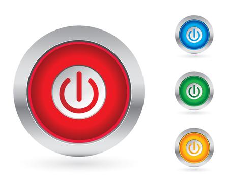 Power knop instellen Vector Illustratie
