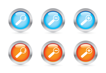 Glossy magnifier button set Vector