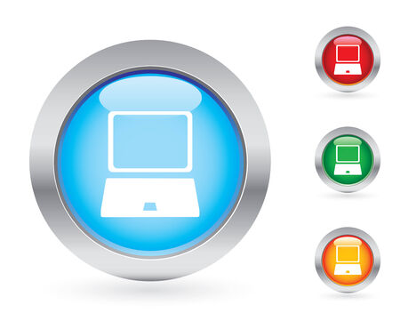 Glossy computer button set Vector