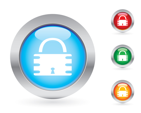 Glossy padlock button set Vector