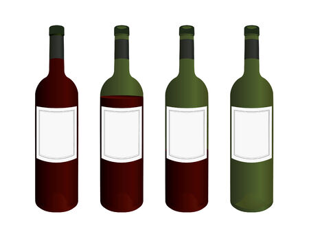 Wine bottles with blank labels Vector