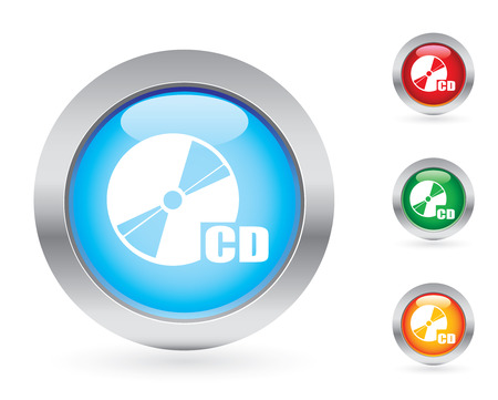 Glossy disc button set Vector