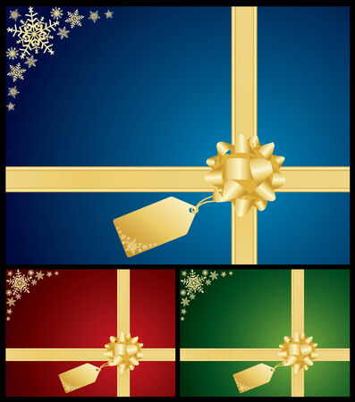 Christmas bow and gift card backgrounds Vector