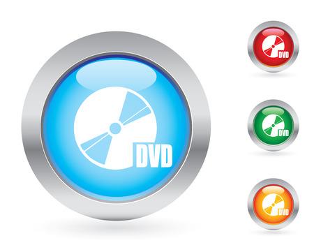 Glossy dvd button set Vector