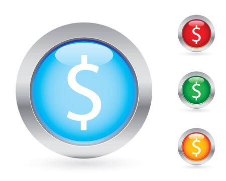 Glossy money button set Vector