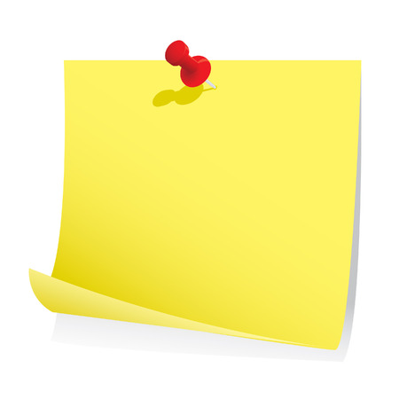 yellow tacks: Blank note paper with pin