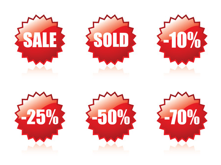 Glossy sale stickers Vector