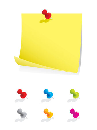 notepads: Nota de papel en blanco con alfileres de colores