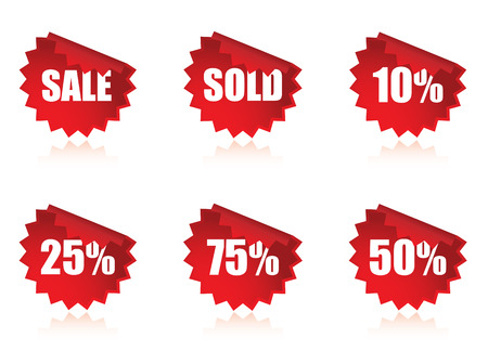 Set of sale stickers with reflections Vector