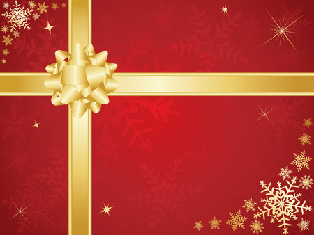 Christmas bow and ribbons with snowflake background Vector