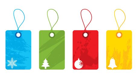 Colourful christmas tags Vector