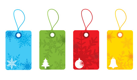Bright christmas snowflake tags Vector