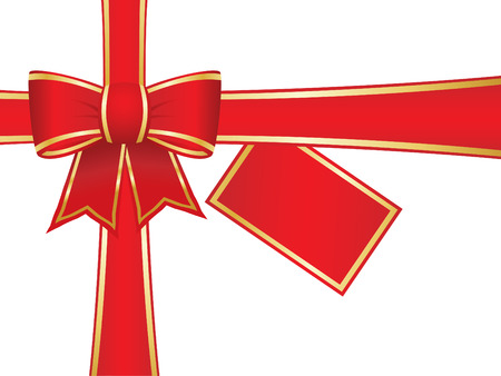 Bow and ribbons with blank gift card Vector