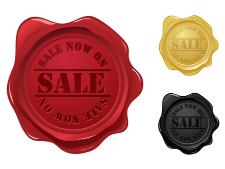 wax glossy: Wax seal with sale stamp