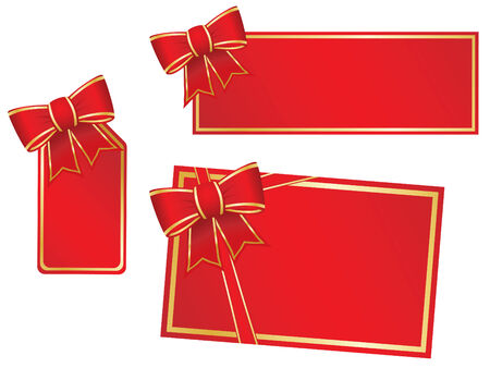 burgundy ribbon: Christmas bows and blank gift cards.