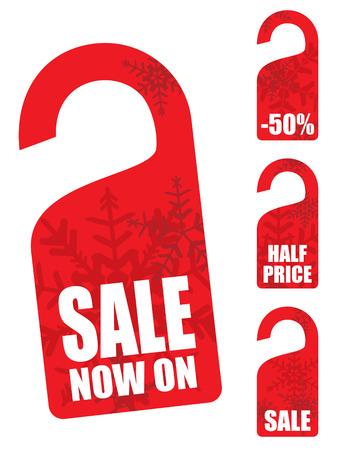 Christmas snowflake sales tag Vector