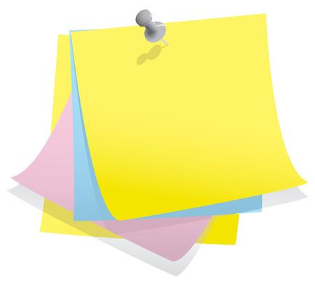 tachuelas: Pila de papel con nota pin Vectores