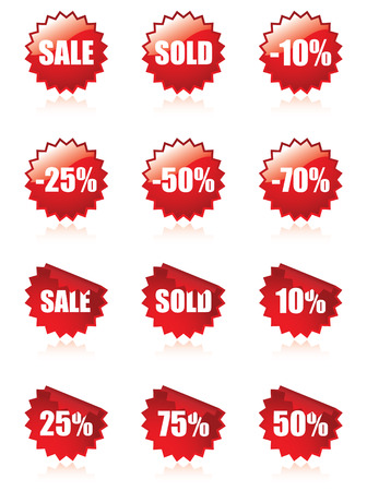 Sale buttons with shadows Vector