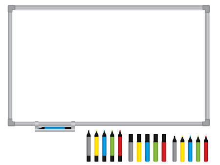 Blank whiteboard with pens Vector