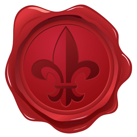 wax glossy: Wax seal with fleur de lys stamp Illustration