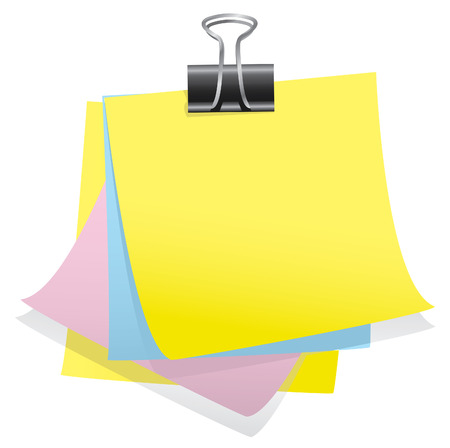 yellow sticky note: Memo notes with clip