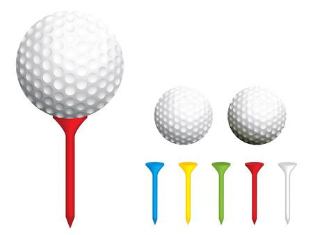 golf tee: Golf ball and tee illustration