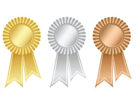 escarapelas: Oro, plata y bronce rosetas