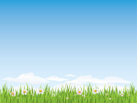 Spring seamless grass and flowers Vector