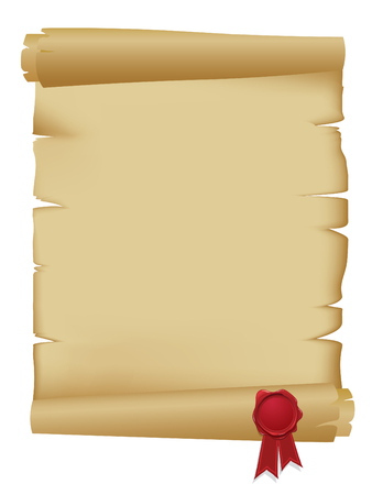 Old scroll with wax seal Vector