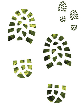 indent: Camoflage and green boot prints
