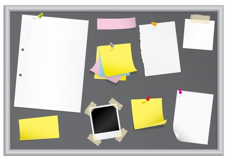 Bulletin board with stationery (grouped for easy editing) Stok Fotoğraf - 4113665