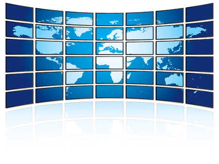 widescreen: TV plasma wall with world map Illustration