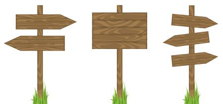 wooden post: Puestos de firmar en blanco Vectores