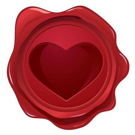 wax glossy: Wax seal with heart stamp