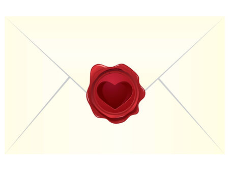 wax glossy: Heart wax seal with envelope