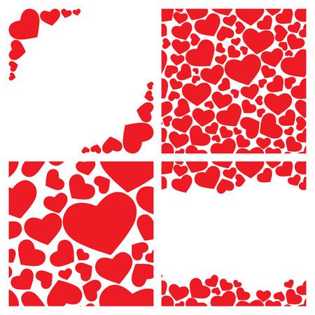 Four seamless heart backgrounds Vector