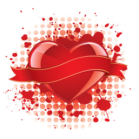Glossy heart with banner Vector