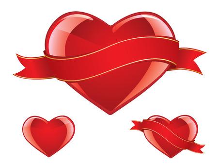 Glossy heart set Vector