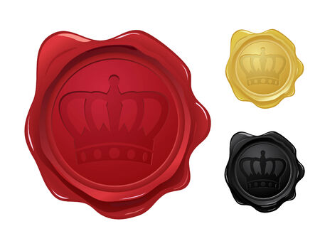 wax glossy: Wax seal with crown stamp