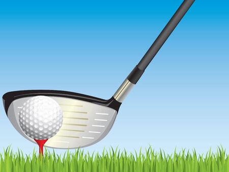 golfclub: Golf club en bal Stock Illustratie