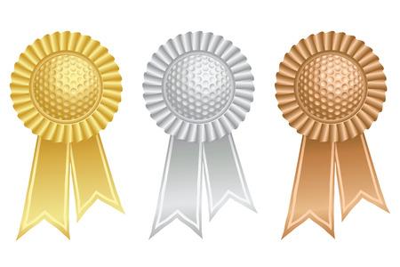 rosaces: Golf ball prix rosettes Illustration